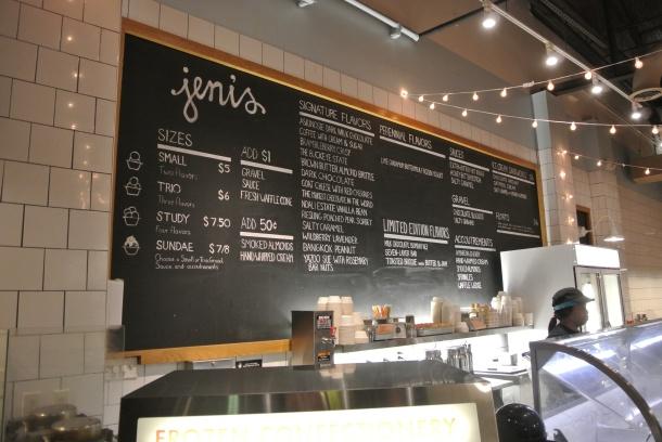 The menu at Jeni's in Charleston.