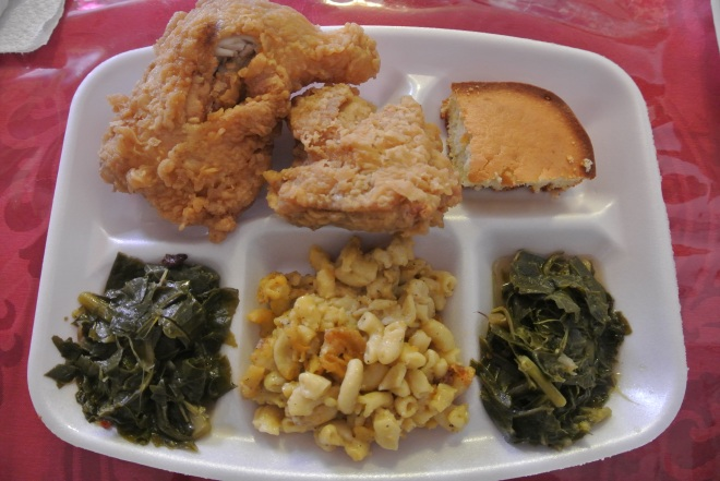 My lunch order - fried chicken, baked macaroni, collard greens and cornbread.