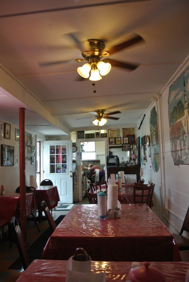 Inside the Martha Lou's Kitchen.  There are only 6 tables in the entire restaurant.