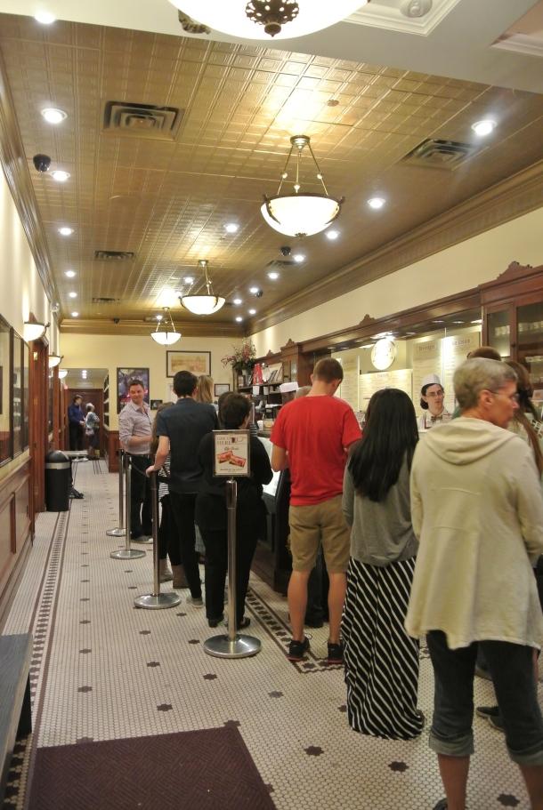 Inside Leopold's ice cream shop.