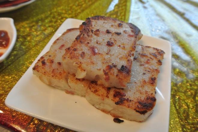 Pan fried turnip patties.