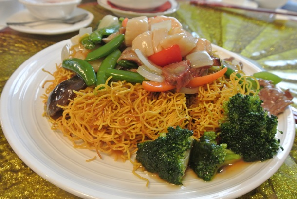 Hong Kong style crispy noodles with seafood and vegetables.