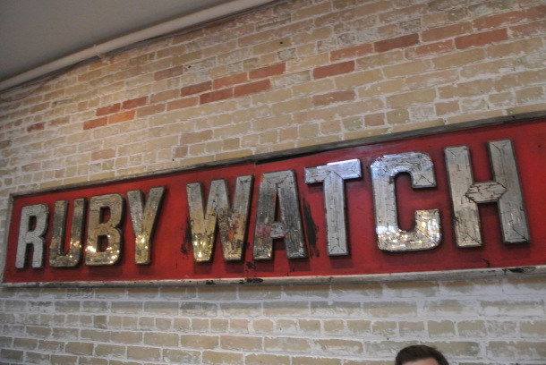 The Ruby Watch Co sign.