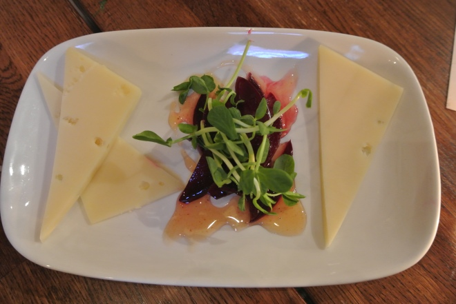 Lankaaster by Glengarry fine cheese with red beets, spicy honey and pea shoots.
