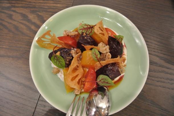 Roasted beet gado gado with pat chun vinaigrette, walnut, bean sprouts, green beans and crispy bean curd.