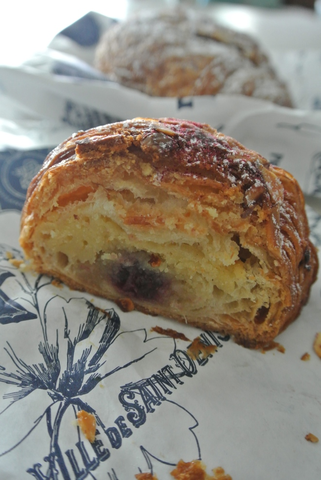 Inside the rosewater, almond croissant.