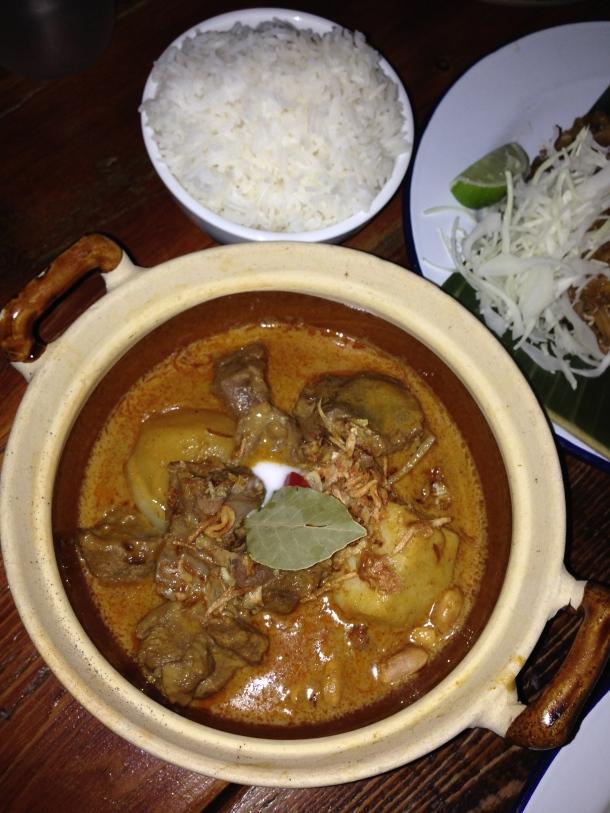 Gaeng Masaman with braised beef and jasmine rice.