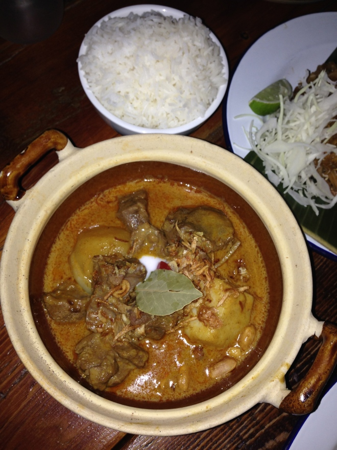 Gaeng Masaman with braised beef and jasmine rice.