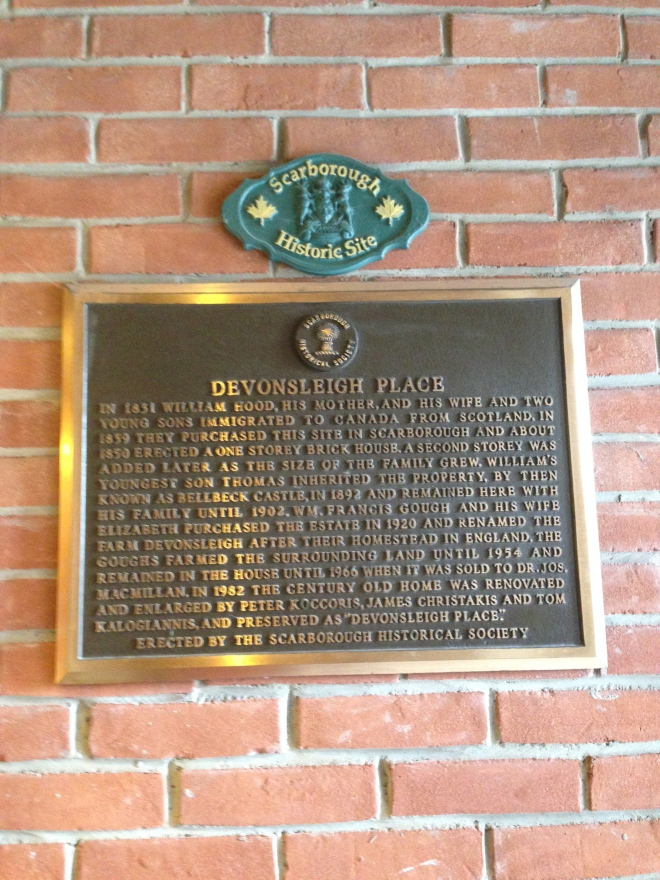 The plaque hanging in the entrance to the restaurant claiming it a Scarborough Historic Site.