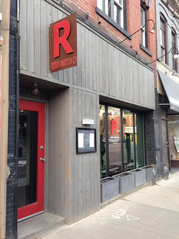 The restaurant front of Ruby Watchco.