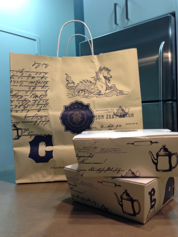 Beautiful packaging of Cluny's pastries.