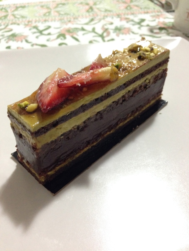 Pistachio chocolate dessert.
