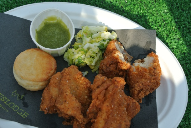 Weslodge's Fried Chicken with 5 day slaw and house jalapeno hot sauce.
