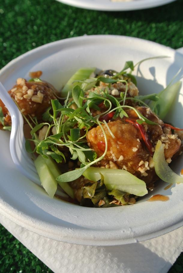 Splendido's braised pork belly, peanuts, KFC and thai basil.