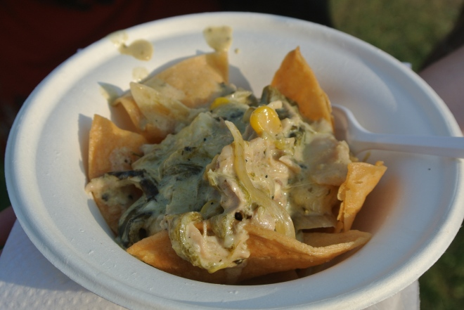 Los Colibris' rajas poblanas chicken, corn, poblano and corn tortillas.