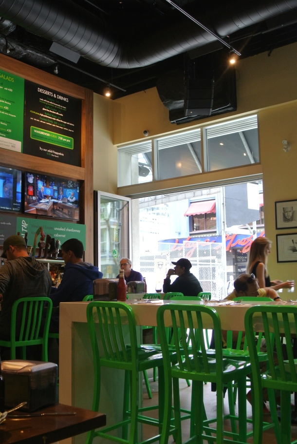 The sports bar look of Wahlburgers.
