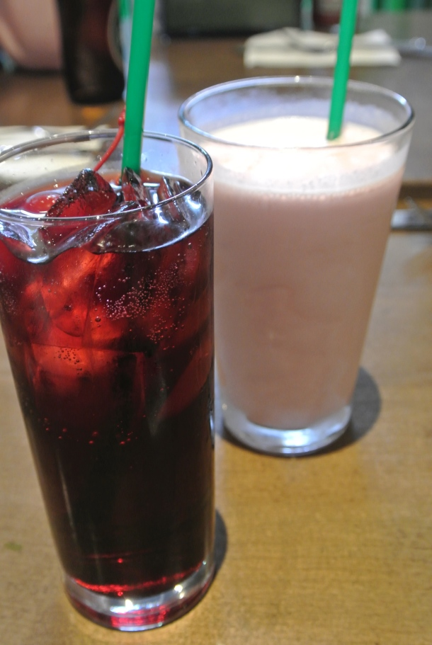 Cocktails - Cherry Coke and Blueberry Pie adult shake.