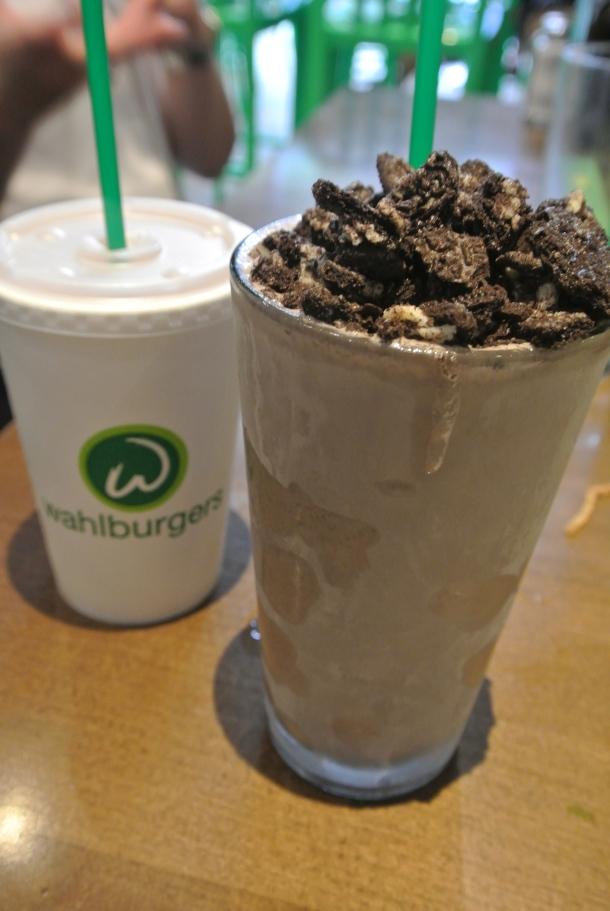Mud Pie adult shake made with kahlua, creme de cacao, vanilla vodka, chocolate and vanilla ice cream; and a classic chocolate shake.