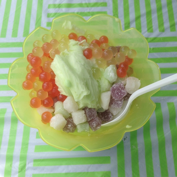 Melon flavoured snow ice with all the fixings.