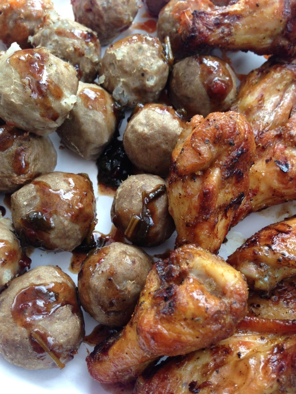 Asian meatballs and BBQ wings.