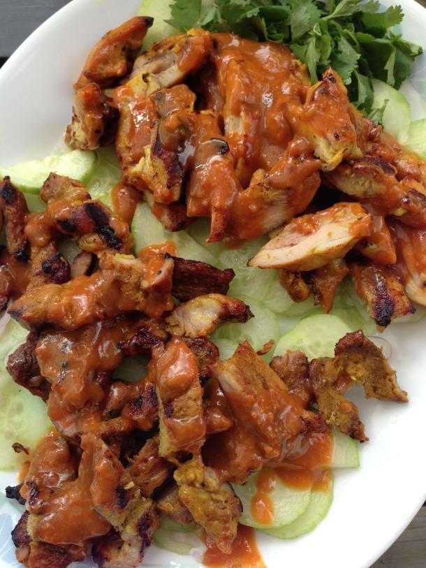 Homemade pork and chicken satay.