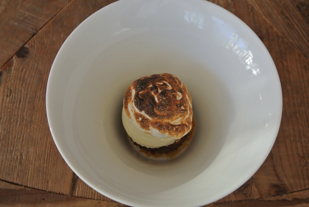 Baked Alaska - flourless chocolate cake, vanilla ice cream, caramel and burnt meringue.