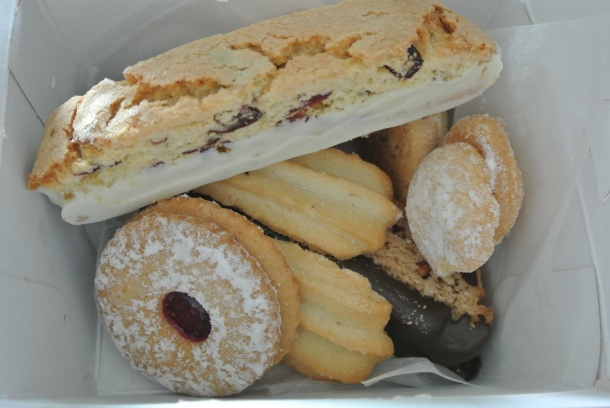 A box full of Italian biscotti and butter cookies.