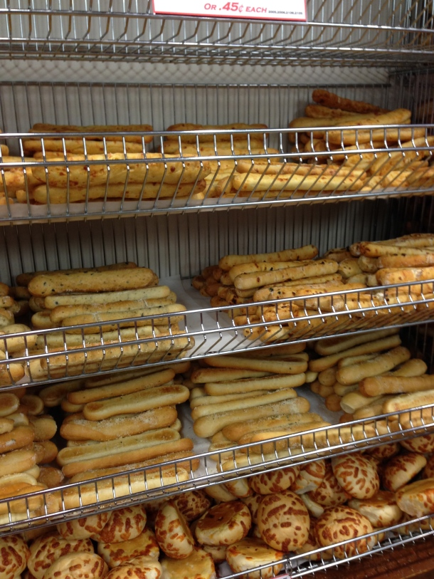 So many different types of bread sticks - garlic, cheese, sundried tomato and olive.