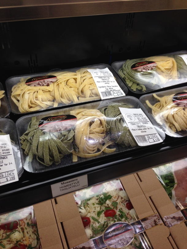 Housemade pasta packaged for easy cooking at home.