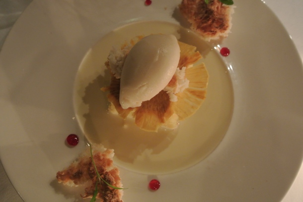 Tres Leches - moist cake, soursop sorbet, pineapple chip, hibiscus and cocada.
