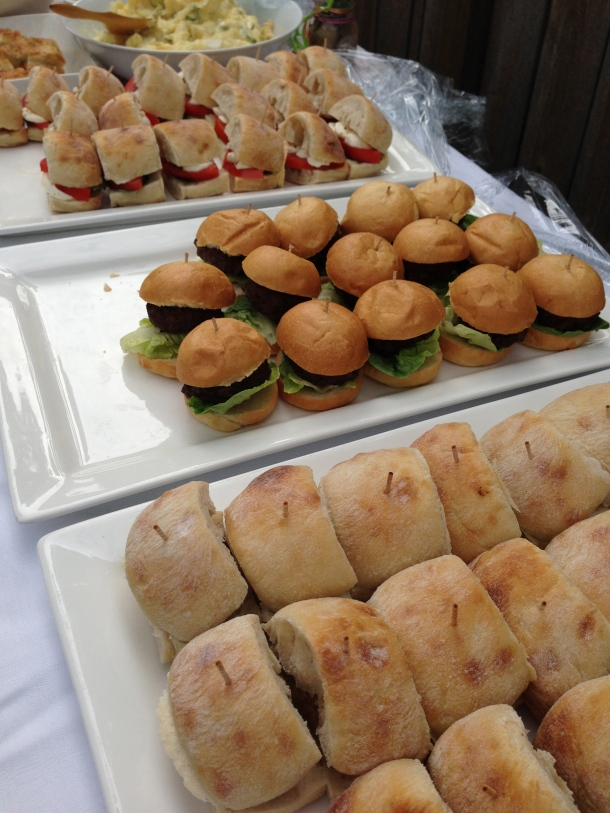 Vegetarian, burger and sausage sliders.
