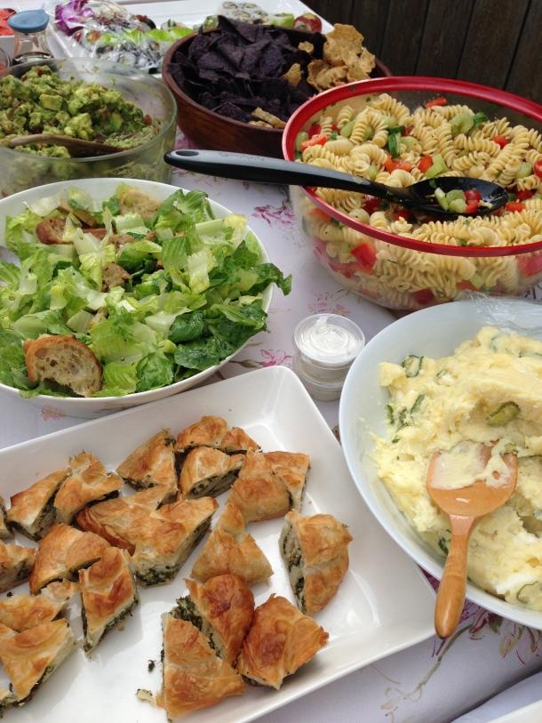 Various homemade salads.