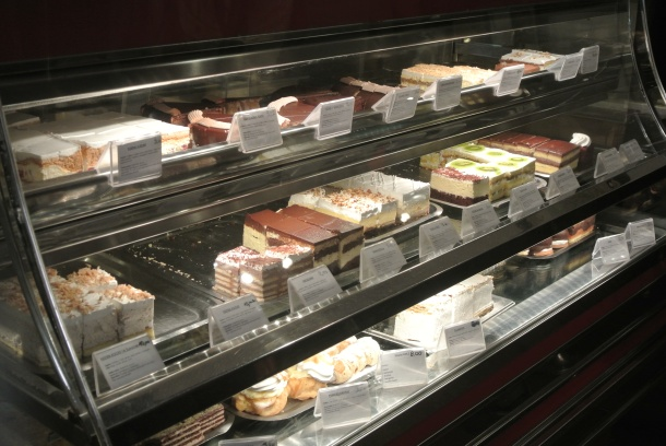 A display full of homemade desserts.