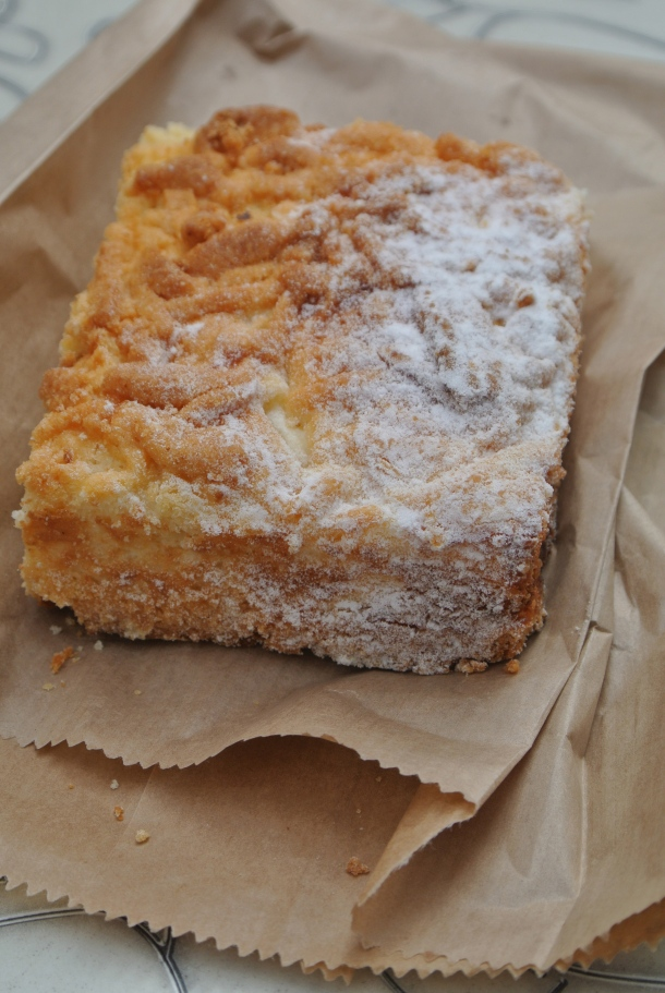 Almond pastry with powdered sugar.