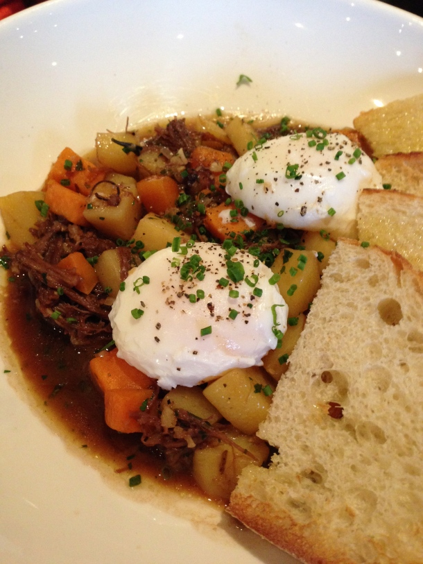 Shortrib hash - two poached eggs, onion, braised shortrib and potato with toasted ciabatta.