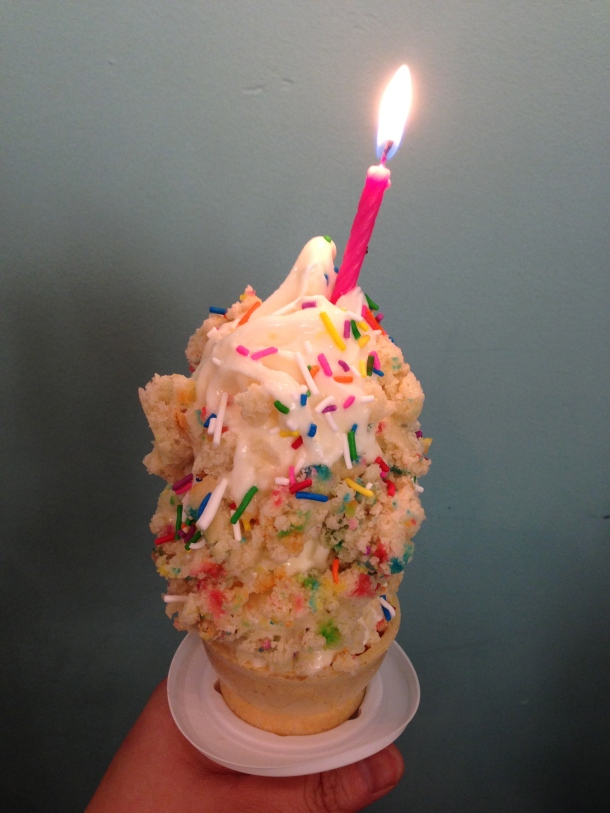 Birthday Cake starts with a vanilla soft serve base, birthday cake chunks, vanilla icing and sprinkles.